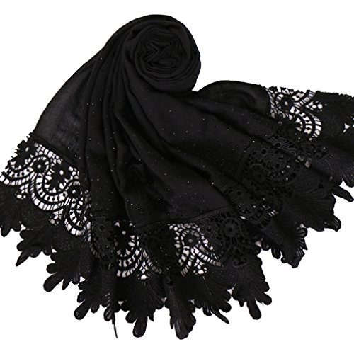 LMVERNA Women's lace cotton scarf lightweight fashion scarves plain Long Scarf Wrap Shawl (Black)]()