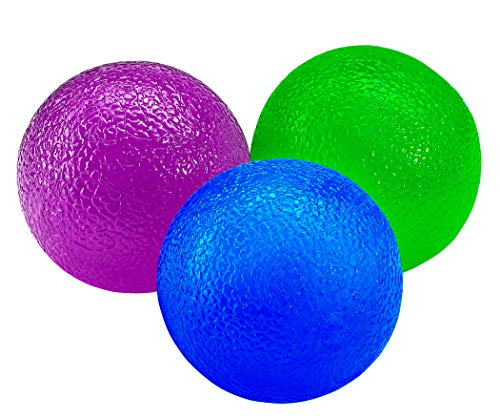 YOGU Hand Therapy Stress Balls- Squeeze Exercise Massage Ball Set for ADHD/OCD/Autism, Anxiety Relieve, Hand Strengthening, and Rehabilitation Set of 3 ()