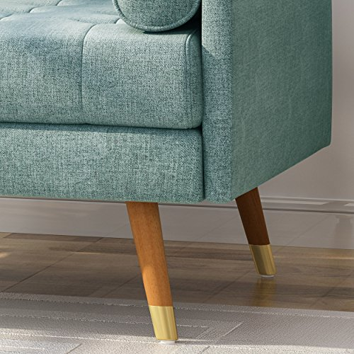 Christopher Knight Home 305842 Nour Fabric Mid-Century Modern Club Chair, Blue, Natural - 3