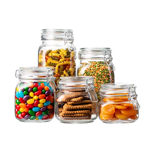 EatNeat Set of 5 Airtight Glass Food Storage Canisters with Bail & Trigger Clamp Lids: 68/51/ 34/27/ 17 oz. (Clear Lid)