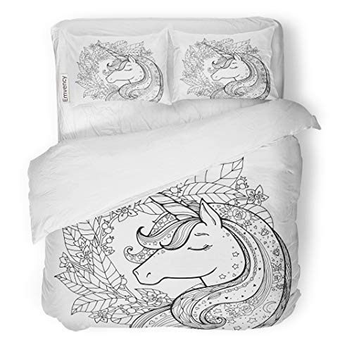 (Semtomn Decor Duvet Cover Set Twin Size Unicorn Magical Animal Black and White Coloring Book Pages for Adults and Kids Funny Character 3 Piece Brushed Microfiber Fabric Print Bedding Set)