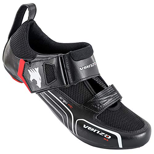 Venzo Cycling Bicycle Triathlon Road Bike Shoes Compatible with Shimano SPD SL Look Black 47