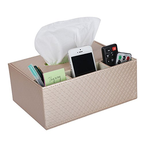 ThyWay Multifunction PU Leather Pen Pencil Remote Control Tissue Box Cover Holder Desk Storage Box Container for Home and Office Use (Champagne)