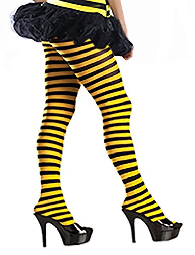 Bee Tights - Women's Bumblebee Tights Me Before You Yellow and Black Striped Pantyhose Tights