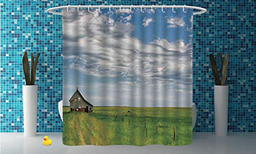 iPrint Funky Shower Curtain [ Rustic Home Decor,Canadian Timber House in Terrain Grassland with Clouds in Air Landscape,Green Blue ] Polyester Fabric Bathroom Shower Curtain Set with Hooks ()