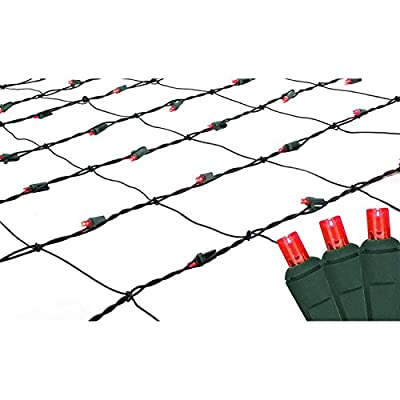 4' x 6' Red LED Net Style Christmas Lights - Green Wire