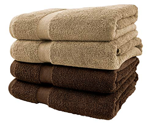 Cotton & Calm Exquisitely Plush and Soft Bath Towel Set - 4 Large Bath Towels (2 Beige and 2 Chocolate, 27