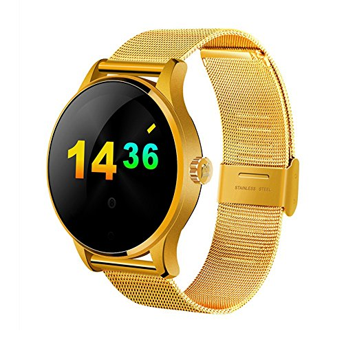 SEPVER All-in-1 K88h Smart Watch Round IPS Touch Screen Bluetooth 4.0 heart rate monitor Pedometer removable strap anti lost fully compatible with iPhone Android Smart Phones (Gold)
