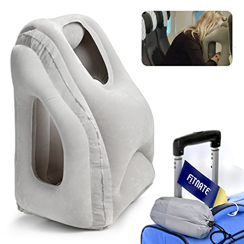 FITNATE Inflatable Travel, Comfortable Full Support Head Neck Body Rest Sleep Pillow, Ergonomic Design Soft Lightweight Compact for Airplane Flight Car Train Outdoor Camping Home Offi, White