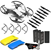 Ryze Tello Quadcopter Drone with 720P HD Camera Live Video and VR, Educational and Interactive Toy for Kids & Beginners(without controller)- Bundle w/3 Batteries + Yellow and Blue Drone Covers