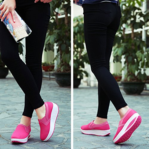 Deporte para Zapatos Malla Ligeros Zapatos Mujer para de Zapatillas Transpirables roja de Rosa Mujer STBqnAw6
