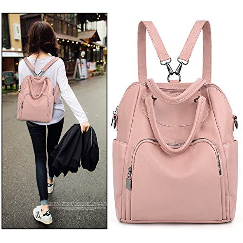 Backpack Bag Shoulder Washed Ladies Leather Tassel PU pink Light 267 Pocket Women Purple Rucksack Zipper UTO Purse Convertible Crossbody OgxIq5g6w