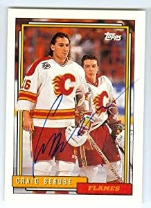 Autograph 120418 Calgary Flames 1992 Topps No. 208 Craig Berube Autographed Hockey Card