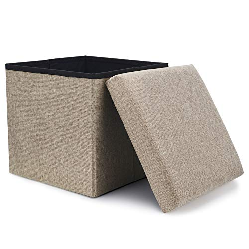 (WoneNice Folding Storage Ottoman, Versatile Space-Saving Storage Toy Box with Memory Foam Seat, Max Load 100 kg Linen Beige 12 x 12 x 12 Inch)