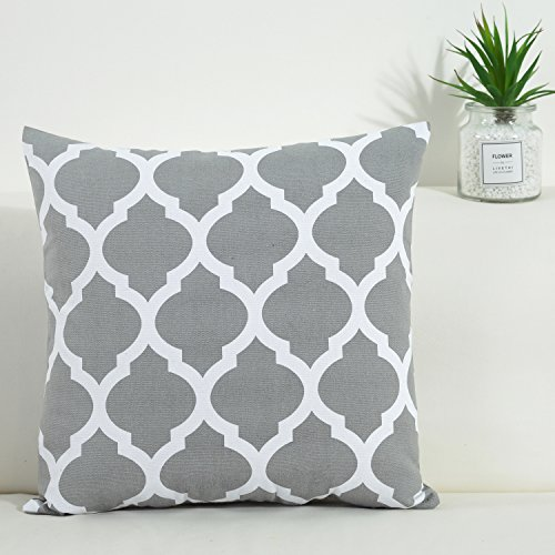 Print Geometric Pillow (TAOSON Dark Gray and White Decorative Cushion Cover Pillow Cover Pillowcase Cotton Canvas Moroccan Quatrefoil Pattern Print Square Two Sides with Hidden Zipper Closure Only Cover 18x18 Inch 45x45cm)