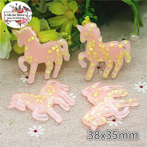 (ZAMTAC 10pcs Resin Kawaii Pink Unicorn with Wing Cabochon Art Supply Decoration Charm Hair Bow Center Scrapbook)