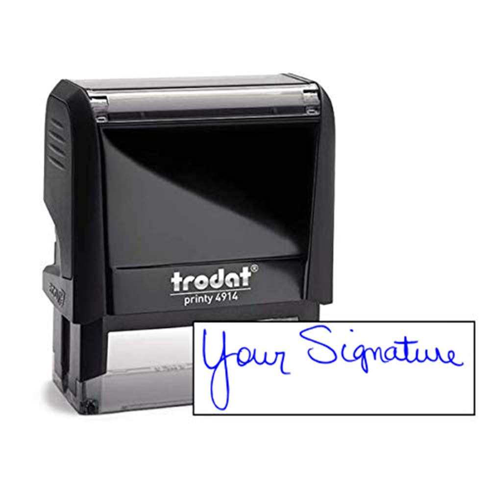 Custom Signature Stamp - Self Inking Personalized Signature Stamp - Blue Ink by Holmes Stamp & Sign