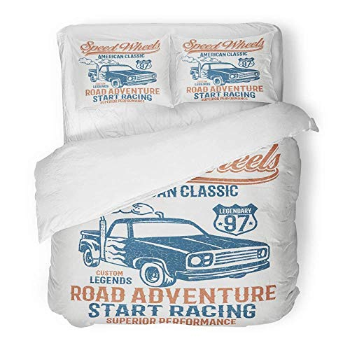 - 3 Piece Duvet Cover Set Brushed Microfiber Fabric Breathable Truck Vintage Hot Rod Pick Up American Auto Boy Classic Clip Custom Drag Bedding Set with 2 Pillow Covers Full/Queen Size