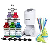 Hawaiian Shaved Ice Machine and Syrup 6 Flavor Party Package | Includes S900 Shaved Ice Machine, 6 Ready-To-Use Pints of Syrup, 25 Snow Cone Cups, 25 Spoon Straws, 6 Black Bottle Pourers