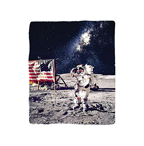 VROSELV Custom Blanket Outer Space American Spaceman on Moon Future Solar Discovery in Deep Technology View Bedroom Living Room Dorm Blue Grey by VROSELV