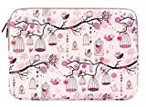 Plemo Laptop Sleeve 13 - 13.3 Inches Canvas Fabric Cover Case for MacBook / Notebook / Dell / Hp / Acer / Asus , Colorful Bird Pattern, Pink