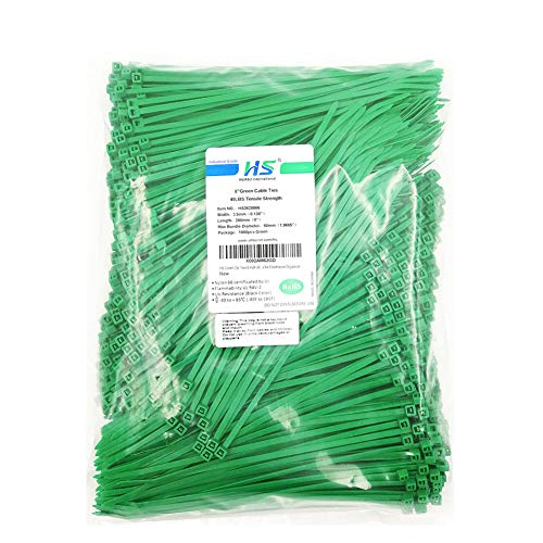 HS Green Zip Ties 8 Inch (Bulk-1000 Pack) Nylon Cable Ties 40 Lbs Self-Locking Wire Ties for Electronics Organizer