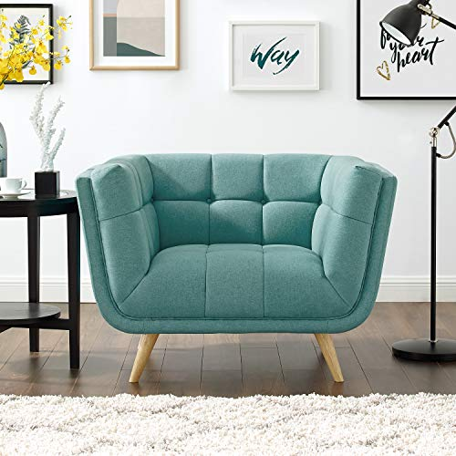 Volans Accent Chair, Mid Century Modern Tufted Fabric Single Sofa Comfy Upholstered Accent Arm Chair with Natural Wood Legs for Bedroom/Living Room/Office/Lounge(Mint Green) (Upholstered Chairs Ikat)