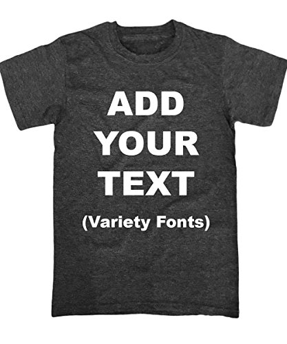 Custom T Shirts Ultra Soft Add Your Text for Men & Women Unisex Cotton T Shirt [Charcoal/M] -