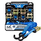 NK NK-R154PK Ratchet Tie Down 4-Pack Set with S hook, 1 Inch 15-Feet 1,000 Lbs Working Load 3,000 Lbs Break Strength (Pack of 4)