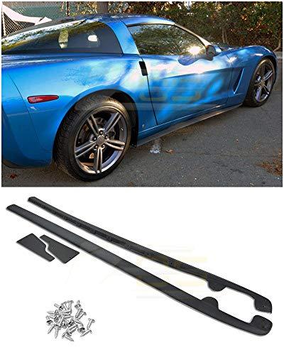 Extreme Online Store for 2005-2013 Chevrolet Corvette C6 Base Models | EOS ZR1 Style ABS Plastic Primer Black Rocker Panels Side Skirts Extension W/Mud Flaps 1 Pair
