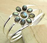 15.00 gms,16.6 Ctw Genuine Gemstone .925 Silver Overlay Handmade Fashion Cuff Bangle Jewelry