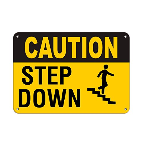 Caution Step Down Hazard Sign Watch Your Step Signs Aluminum Metal Sign 7 in x 10 in Custom Warning & Saftey Sign Pre-drilled Holes for Easy mounting