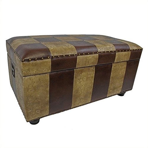 International Caravan Faux Leather Bench Trunk Color - Mixed Pattern