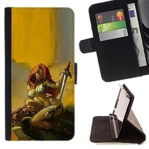 - Queen Pattern FOR Samsung Galaxy A3 /La identificaci????n del cr????dito ranuras para tarjetas tir????n de la caja Cartera de cuero cubie - red sword hero sexy redhead yellow -