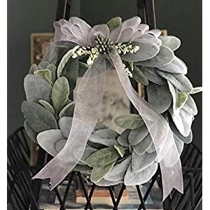 "Mini Lambs ear wreath, 8"" Lambs ear wreath,Spring wreath,Indoor wreath, year round wreath, Home deco,Office deco, Gift idea 7"