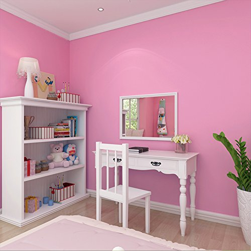 "HelloAuto Pink Peel and Stick Wallpaper dormitory for girls 24""x197"" Self-Adhesive Removable Wall Contact Paper Decor Decals Decoration Textured Panel for Girls Room Nursery Bedroom"