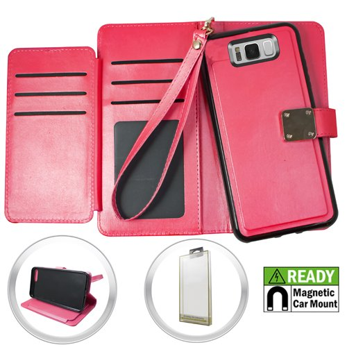 Cell Accessories For Less (TM) Samsung Galaxy S8 - Magnetic Wallet Case With Card Holder - Hot Pink Bundle (Stylus & Micro Cleaning Cloth) - By TheTargetBuys