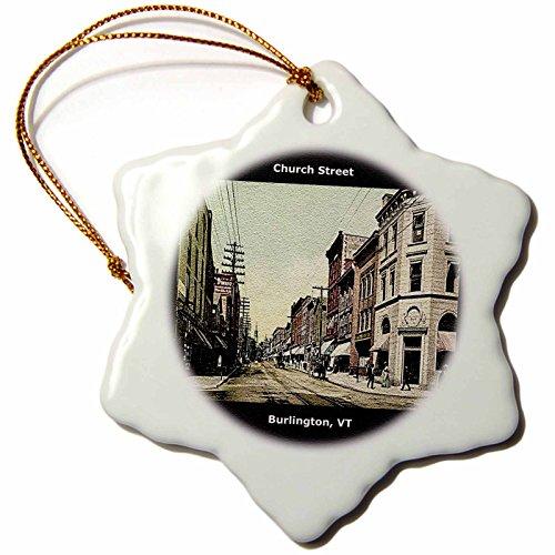 3dRose Church Street, Burlington, VT (Vintage 1907) - Snowflake Ornament, Porcelain, 3-Inch - Church Burlington 1 Street Vt