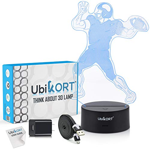 UBIKORT Football Player 3D Night Lamp for Boys Girls and Adult Great Birthday Present for Sport Fans, Ideal for Night Light Bedroom Desk Decor - Perfect Gift Idea [New Generation]