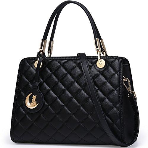FOXER Women Handbag Leather Purse Tote Shoulder Bag Top Handle Quilted Bag (Black1)