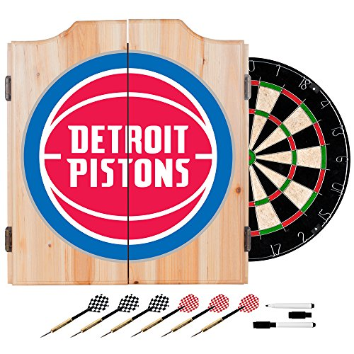 NBA Detroit Pistons Wood Dart Cabinet Set by Trademark Global