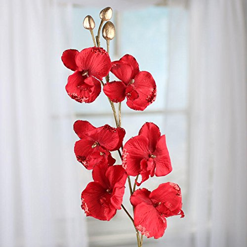 Factory Direct Craft 31.5 Inch Sparkling Regal Red Artificial Orchid Stem for Home Decor, Crafting and Displaying