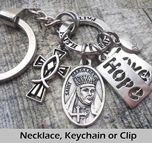 Have Faith Clip or Necklace Customize with Initial and Birthstone Crystal. Safe and Sound of Wives and Mothers Keychain Saint Monica Divine Messenger Help Love and Hope Patron St