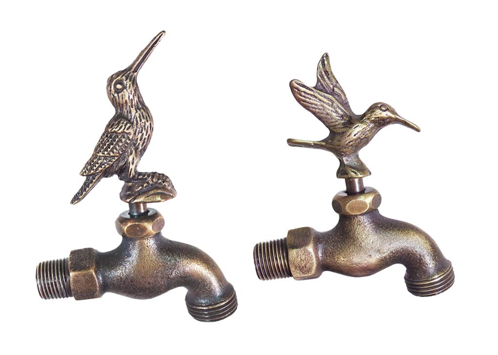 Decorative Solid Brass Hummingbird Garden Outdoor Faucet 4'' Inches L - Set of 2 Pieces
