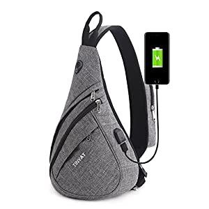 TINYAT Sling Bag Chest Bag Travel Casual Crossbody Shoulder Bag for Women Men T509 (Grey/Large/usb)