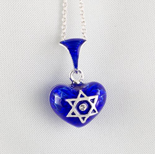 Star of David and Chai Judaica Pendant, Bat Mitzvah Small Heart w Jewish Star, Sterling Silver Blue Enameled Heart with Magen David, Jewish Jewelry for Women/Girls, Enamel Heart Charm Necklace