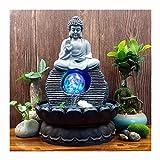 SFXYJ Fuente Interior Ornamentos en Cascada de la Estatua de Buda con una Bola de Cristal de Colores, Ideal para oficinas, Salones, dormitorios.(20.5 * 28cm)