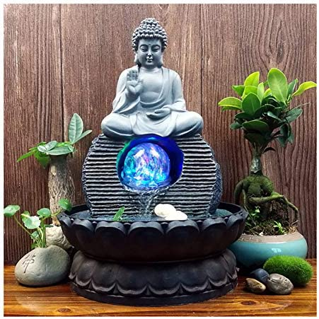 Indoor Water Fountain Buddha Statue Waterfall Ornaments with Colorful Crystal Ball, Great for for Office, Living Room, Bedroom 20.5X28cm