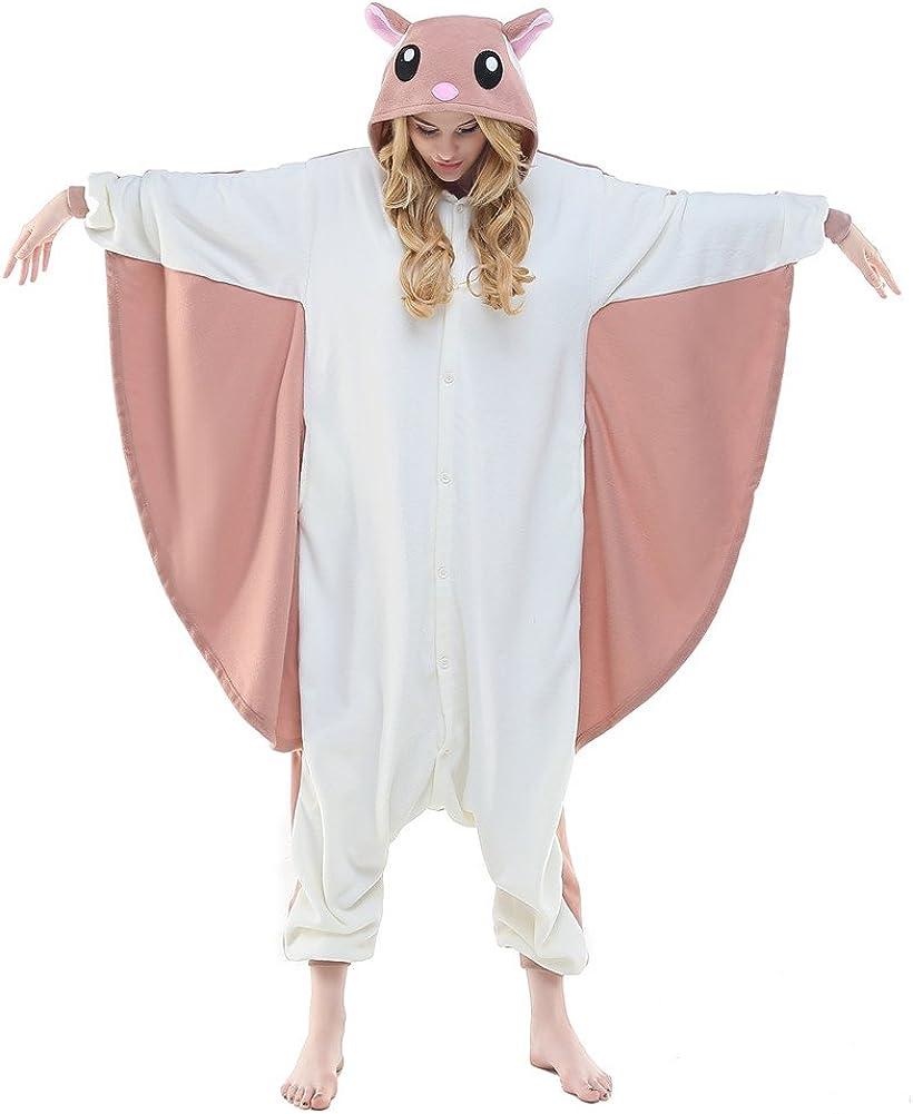 Amazon Com Newcosplay Unisex Adult Flying Squirrel One Piece Cosplay Animal Pajamas Halloween Costume Clothing
