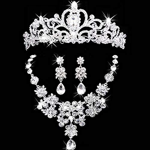 Bridal Jewelry Crown Necklace And Earring Set Tiara Rhinestone Wedding Accessories Bridal Crystal Jewelry Sets 003 ()